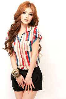 fashion cotton colorful stripes bottom down shirt/top s10515