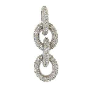 Pave Clear Cubic Zirconia Circles Pendant Necklace with C Jewelry