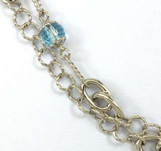 14K WHITE GOLD & BLUE TOPAZ BEADS LADIES LONG 36 3/4 DRESS NECKLACE