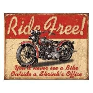 Ride Free Motorcycle Metal Tin Sign Nostalgic