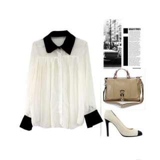 Fashion Womens White Shirt Chiffon Shirt Blouse Long Sleeve Tops M L