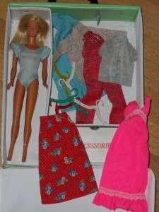 VINTAGE 1960s 1970s BARBIE MIXED LOT DOLL CASE CLOTHES