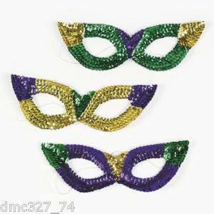 12 MARDI GRAS Party Costume Sequin Masks   NEW