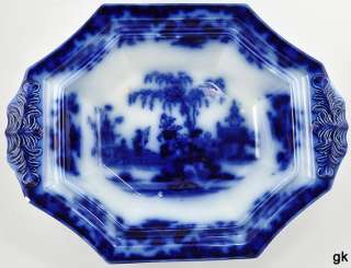 Antique English J & G Alcock Flow Blue Pottery Entree Dish/Bowl