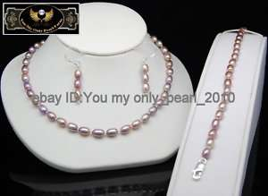 MP Fine Pearl Necklaces Bracelets Earrings Set 925S