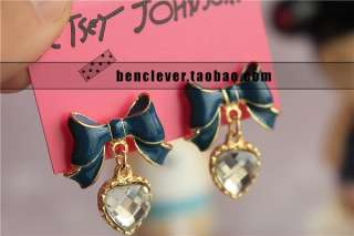 912 Korean Fashion bow with crystal Earrings