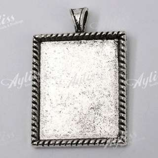 5X Tibetan Silver Rectangle Picture Frame Pendant Bead