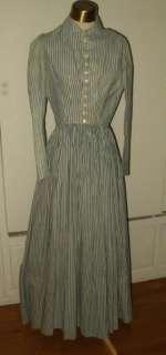 Victorian Civil War 1860s Blue White Stripe Cotton Day Or Work Dress