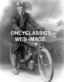 1908 MOTORCYCLE MAN STUDIO ART DECO PHOTO HARLEY INDIAN
