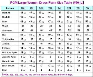 PGM Large Women Dress Form Size Table