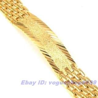12mm35g RARE MEN 18K YELLOW GOLD GP BRACELET SOLID FILL GEP CHAIN