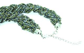 24Rows Weave Mixcolor Seed Crystal Glass Bead Necklace