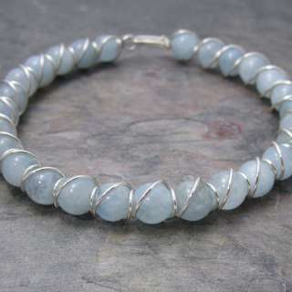 Blue Aquamarine Beaded Sterling Silver Wire Wrapped Bracelet