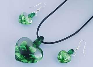 1set Heart Love Flower Inside Lampwork Murano Glass Pendant Necklace