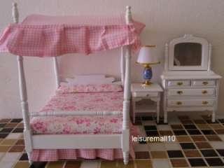 Miniature Bedroom Furniture Pink Canopy Bed Dresser Side Table Barbie