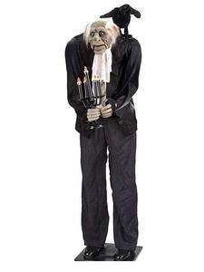 Life Size 5Ft. ANIMATED HAUNTED BUTLER w/ Candles & Raven Halloween
