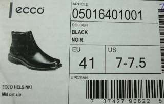 Ecco Mens Shoes Model Helsinki Mid Cut Zip Half Boot Size 7 7.5, Euro