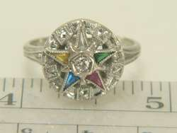 14K White Gold OES Eastern Star Diamond Estate Ring