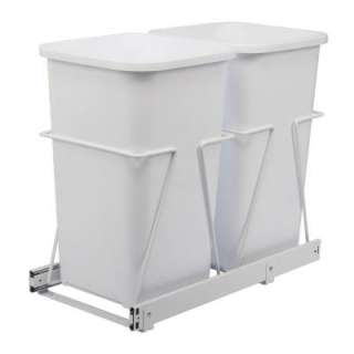 Real Solutions Double 27 qt. White Trash Bins with Pull Out Steel