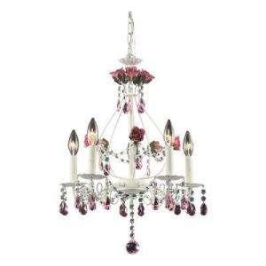 ELK Lighting Rosa 5 Light Hanging Antique White Chandelier 5450 4 at