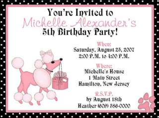 10 CUTE PINK POODLE CUSTOM BIRTHDAY PARTY INVITATIONS