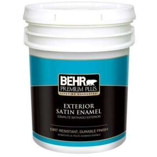 Behr Premium Plus 5 Gallon Satin Ultra Pure White Enamel Exterior