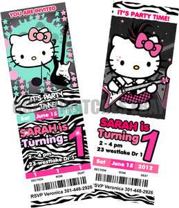 HELLO KITTY ZEBRA BIRTHDAY PARTY INVITATIONS Tickets Custom