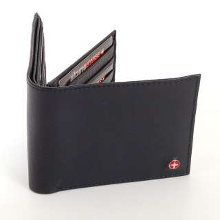Alpine Swiss Mens Leather Wallet ID Window Card Case Extra Capacity