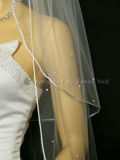 2T White Bridal Wedding Cathedral Rhinestones Veil