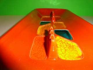 VTG MID Century Modern USA Pottery Orange Abstract MOD Lg Coffee Table