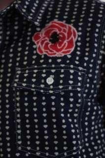 NWT Billionaire Boys Club Red Rose Denim Pocket Shirt L