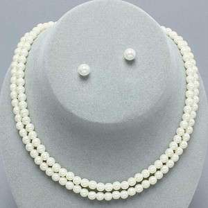 Double Strand Pearl Necklace & Earring Set Ivory