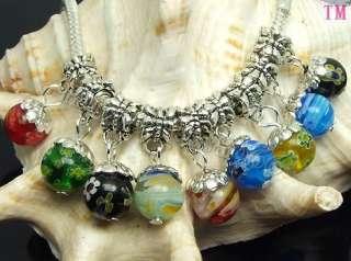 30pcs Mix MILLEFIORI GLASS Fit charms Bracelet f0596