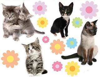 27pc kittens flowers cats wall stickers girls cutouts free economy