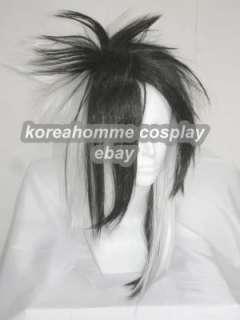Visual Rock Punk Cosplay Wig black mix white costume