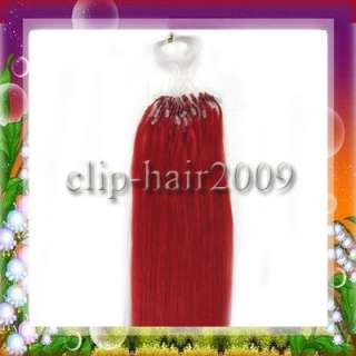 18 Remy Loop Micro Ring Human Hair Extensions 50s #Red, 25g total