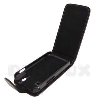 Galazy Ace S5830 , Leather Case Pouch Cover + Film h_Black