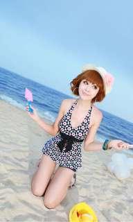Vintage Cute Floral 2 Piece Halter Tankini Set Bathing Suit Swimsuit S
