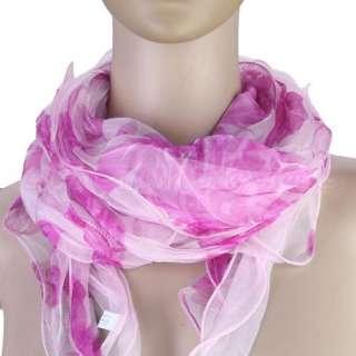 Women Soft Silk Sheer Long Scarf Shawl Wrap 2 Layers