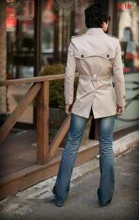 Fashion Mens Slim Fit Stylish Trench Coat Wind Jacket 2 Colors 3 Sizes