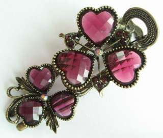 SWAROVSKI CRYSTAL VINTAGE BRONZE HEART FLOWER HAIR BARRETTE CLIP 783
