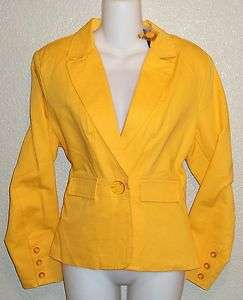 Lisa Intl Fully Lined Cotton Blazer  Pink, Aqua,Yellow,L me Misses