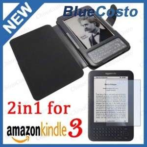 Leather Case+Screen Protector For  Kindle 3G WiFi