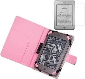 Pink Leather Case Cover Folio for  Kindle Touch 3G WiFi+Screen