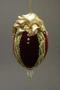 Towers & Turrets Handmade Victorian Style Velvet Beaded Egg Christmas