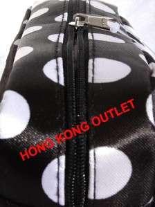Black White Dot Spot Cosmetic Pencil Bag Case Black D16c
