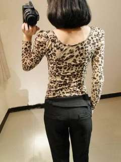 Womens Large Round Neck Leopard Puff Long Sleeve T Shirt Tops Blouses