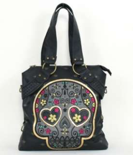 NEW LOUNGEFLY TOTE BAG PURSE HANDBAG SUGAR SKULL HEART EYES BLACK GOLD