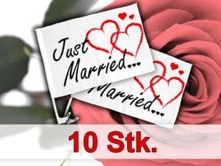 10 Stk. Autoflagge Autofahne für die Hochzeit Just Married Auto