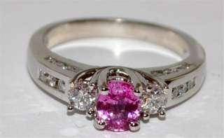 Diamond & Pink Sapphire Engagement Wedding Ring 1.2ct